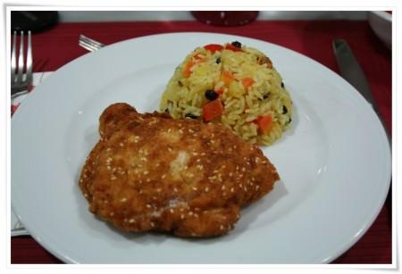 ayvalı zencefilli pilav tavuk şinitzel