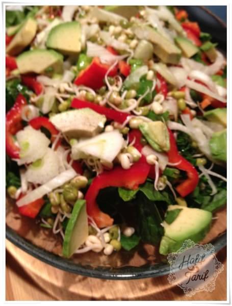 filizlenmiş öaş fasulyesi salatası