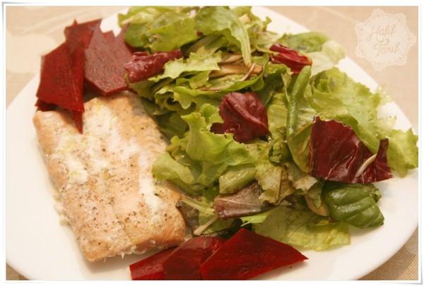 somon ısgara ve salata